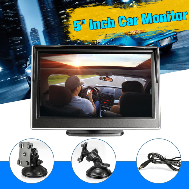 HD 5 pulgadas visión Trasera Sistema TFT Color LCD de coches inversa retrovisor 800*480 Monitor del coche de seguridad Estacionamiento cámara DVD 12 V