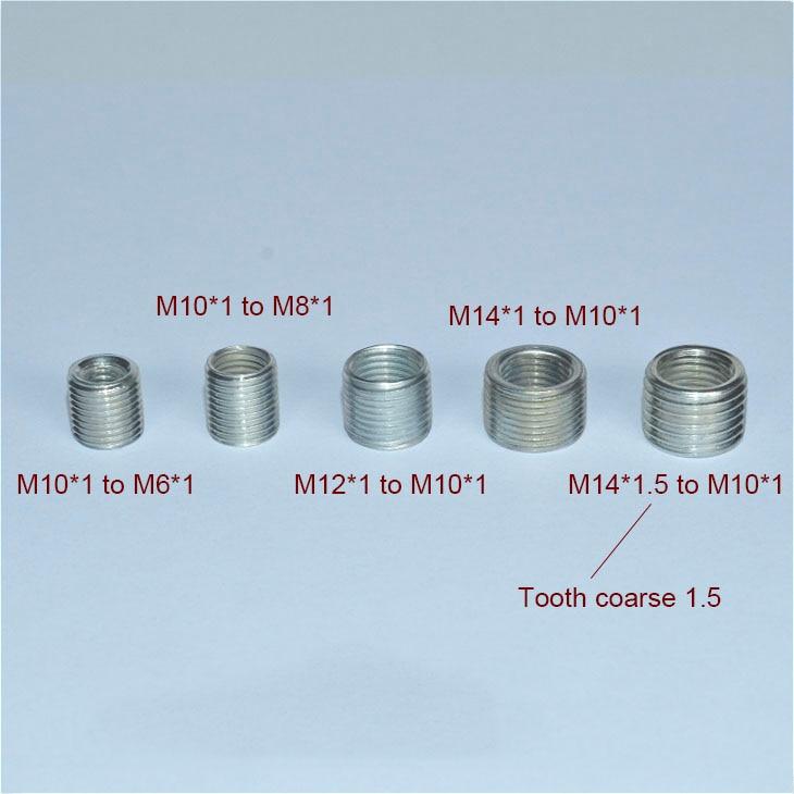 5PCS M6 to M10, M8 to M10, M10 to M14 threaded hollow tube adapter inner outer threaded coupler conv