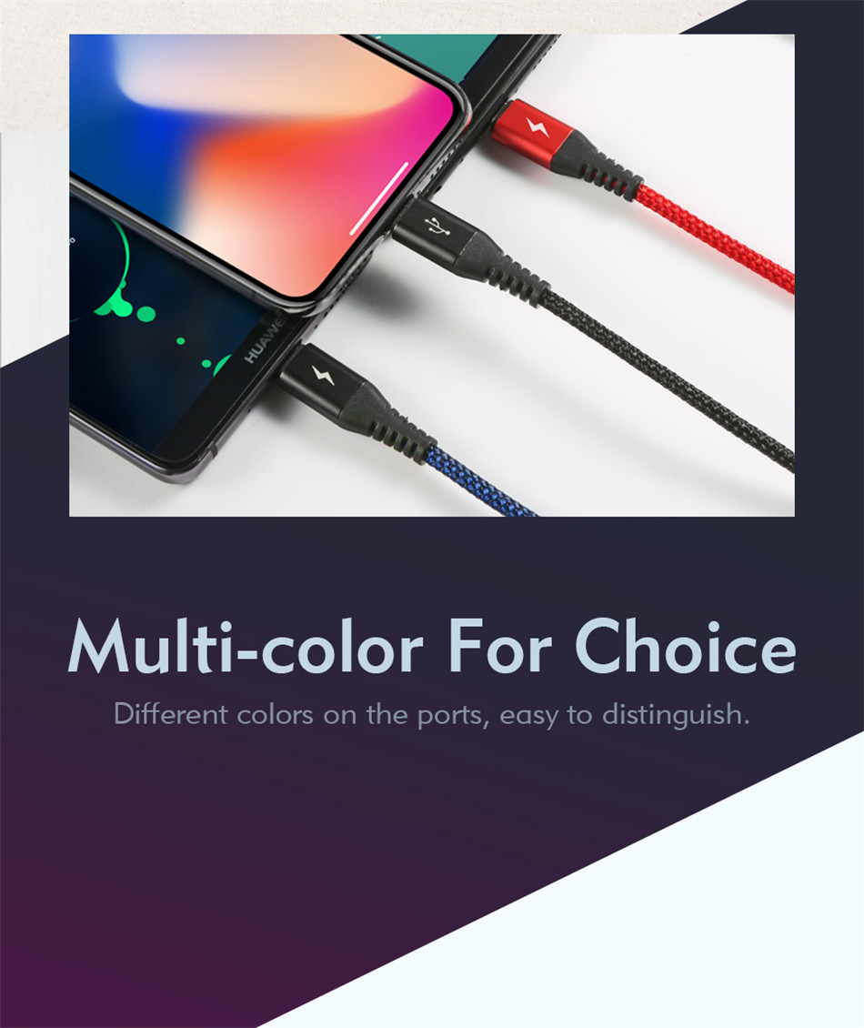 Benks Universal 3 In 1 Lighting Charger Cable For iPhone X 7 8 6 Plus Micro USB Type C For Oneplus Xiaomi 5 Phone Charging Cable (3)