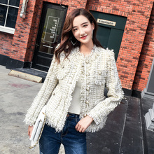 2018 Autumn women pearls O-neck tassels jackets coat Elegant ladies plaid tweed D526