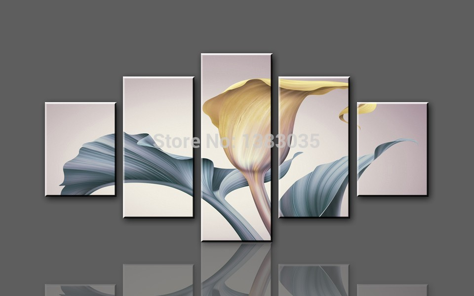 YouYiBao Official Store Hand Painted Abstract 5 Panel Wall Painting Flower Home Decoration Modern Picture Canvas Art Set