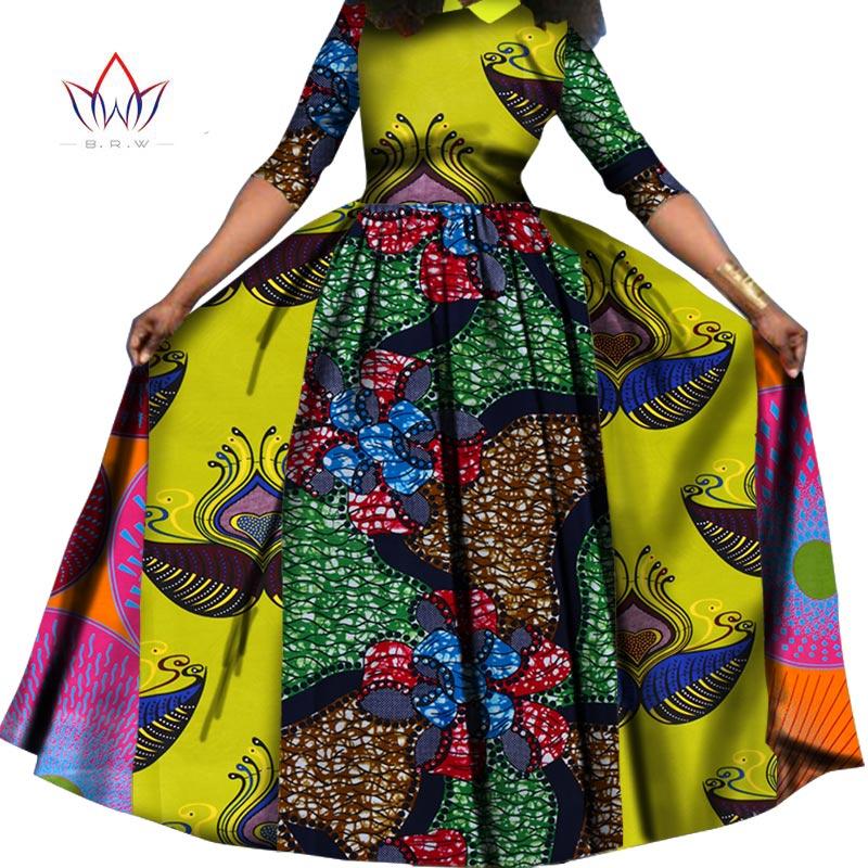 2017 Robe d'été Dashiki Batik Africain Imprimer robes pour les femmes Manches Longues Pur Coton turn-down Col Robe Plus taille WY842