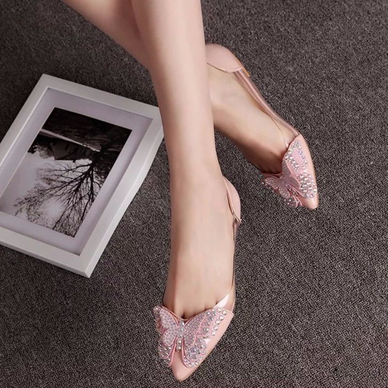 2018 Luxury Rhinestone Ballet Flat Shoes Women Spring Autumn Butterfly Pointed Toe Wedding Shoes Loafers Size 39Womens Flats   -