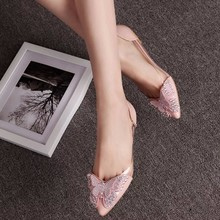 2018 Luxury Rhinestone Ballet Flat Shoes Women Spring Autumn Butterfly Pointed Toe Wedding Shoes Loafers Size 39