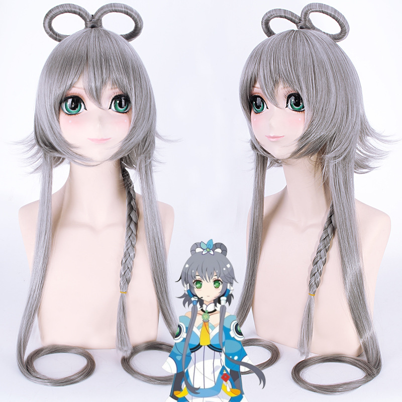 VOCALOID Luo Tianyi for Women Long Straight Braid Cosplay Wigs 120cm Grey Heat Resistant Synthetic Female Fake Hair Wig