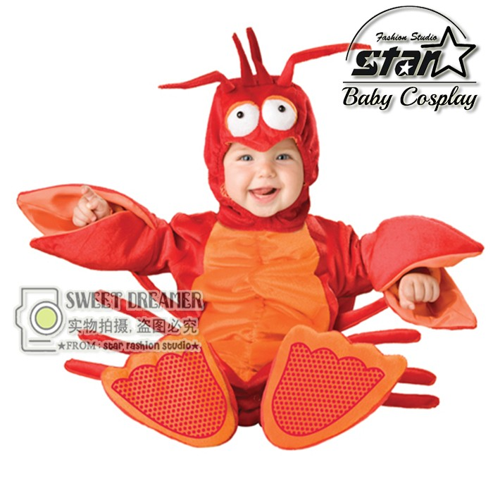 Autumn Winter Newborn Clothes Flannel Baby Boy Plush Rompers Cartoon Animal Lobster Langoustine Jumpsuit Baby Girl Halloween Cos winter autumn fall baby clothes flannel baby boy clothes cartoon animal jumpsuit baby girl rompers long sleeves covered button