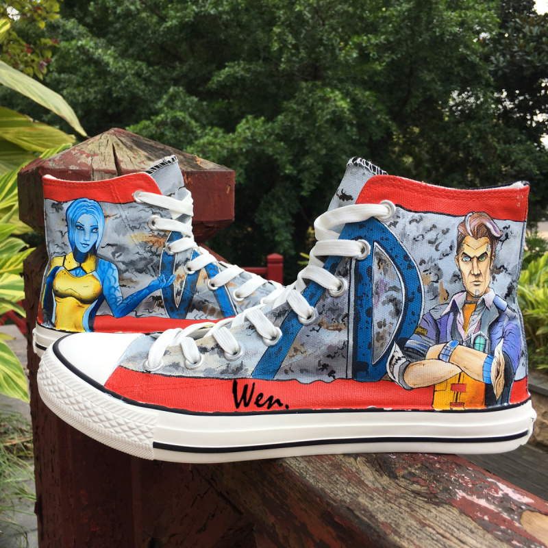 Wen Design First Person Shooting Hand Painted Canvas Shoes Borderlands Customized for Adults High Top Bottom Outdoors Sneakers