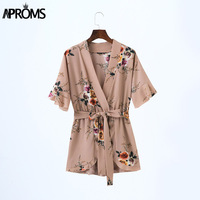 Boho Floral Print Ruffles Playsuit Women Elegant Autumn White Deep V Neck Jumpsuits Rompers Sexy Beach
