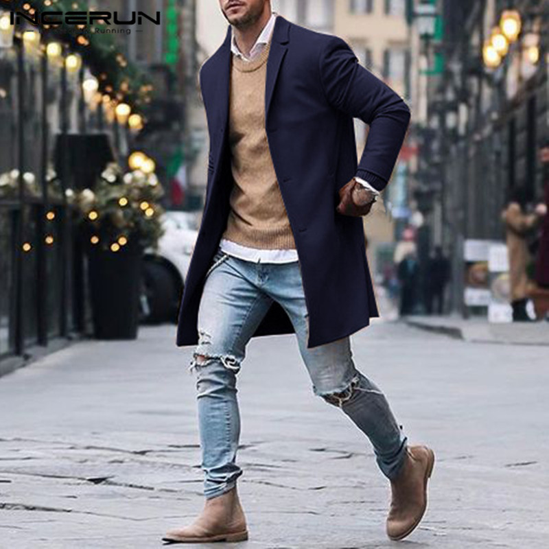 INCERUN Winter Men Trench Coats Outerwear Long Sleeve Business Solid Slim Fit Elegant Fashion Classic Jackets Men Overcoats 2019