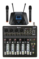 STARAUDIO 6 Channel USB Bluetooth Professional Audio Mixer with 2CH UHF Wireless Handheld Microphone SMX 6000B