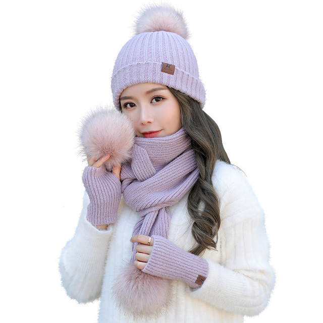 f5faf0287469b Winter Women Hats Scarf Gloves 3pcs set For Girls Thick Cotton Winter Women  Accessories Hats Sets Female Beanie Scarf Gloves