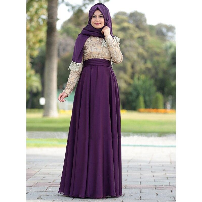 Robe de soirée À Manches Longues Musulman Robe de Soirée 2017 Hijab Abaya  Caftan Marocain Arc