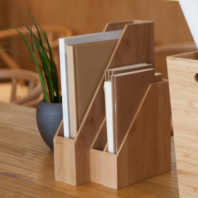 1PCS Minimalist Office Desktop Finishing Shelves Data File Storage Box  Paper Magazine Holder wooden Bookshelf Office