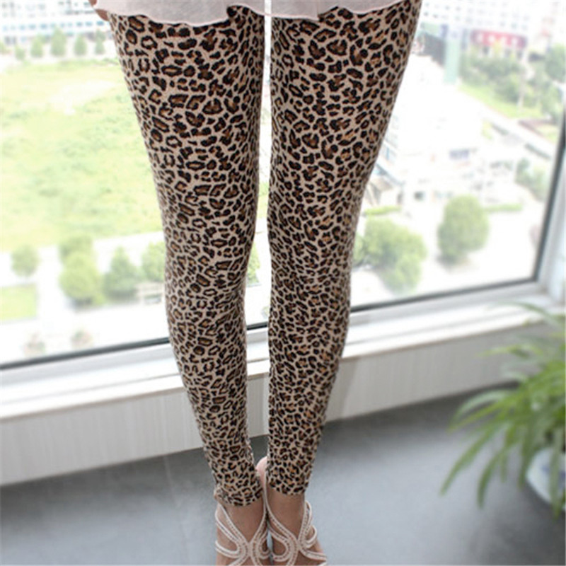 2017 European Stylish Trousers For Women, Hot Sale Sexy Women Girls Leopard Stretch Leggings Ninth Pants pantalon femme