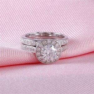 Image 5 - DovEggs סטרלינג מוצק 925 כסף מרכז 1ct 6.5mm H צבע Moissanite Halo חתונת טבעת סט 2 חתיכות כלה קלאסי להקה