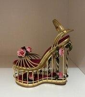 Летние Сандалии для девочек цветок украшен Клетки Птицы Сад Сандалии с ремешками на лодыжках модная Свадебная вечеринка Туфли под платье Д