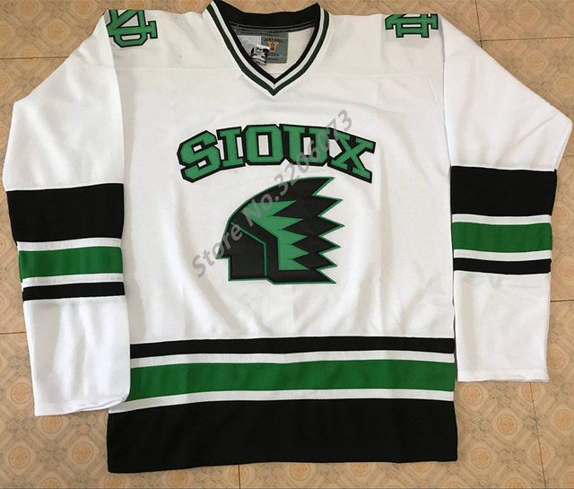 low priced b2362 8a8a9 North Dakota Fighting Sioux University White Throwback Ice Hockey Jersey  Mens Stitched Custom any number and name Jerseys-in Hockey Jerseys from ...