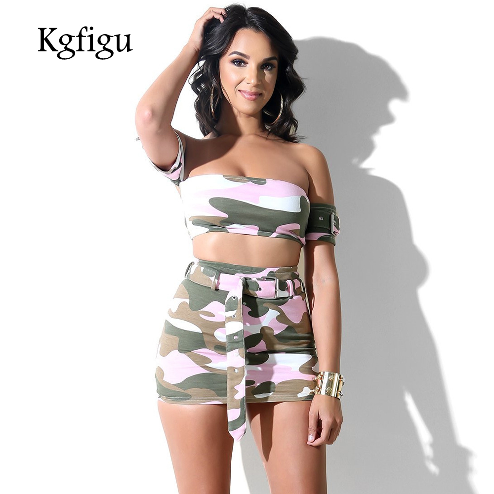 4f816e103e6 2018 Summer Camouflage Pants Hot Short + Cropped Top 2 Piece Set Women  Tracksuit Sexy Suit Outfits Cami Strapless Two ...