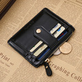 DreamShining Men's PU Leather Wallets Simple Business Style Coin Packet Bag Short Zipper Billfold Wallet Vintage Card Purse