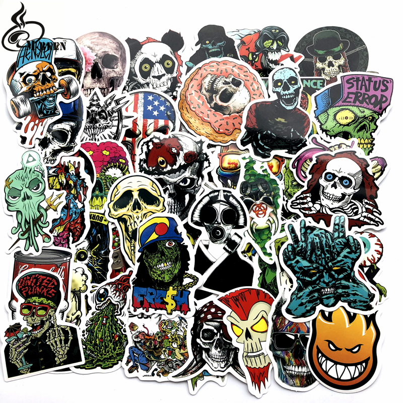 50 Pcs Mixed Horror Stickers for Luggage Laptop Skateboard Bicycle Motorcycle Car Styling Decals Terror Cool Waterproof Sticker цена