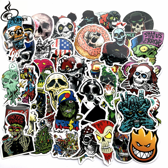 US $1 79 40% OFF|50 Pcs Mixed Horror Stickers for Luggage Laptop Skateboard  Bicycle Motorcycle Car Styling Decals Terror Cool Waterproof Sticker-in