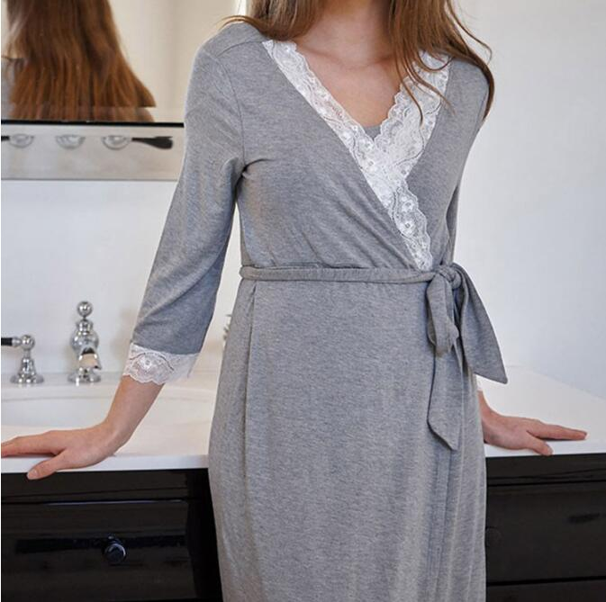 Nightgown Maternity Pajamas Dress Lace Sleepwear Pregnant Breastfeeding Elegant Nursing Clothes Pyjama Plus Size 2XL