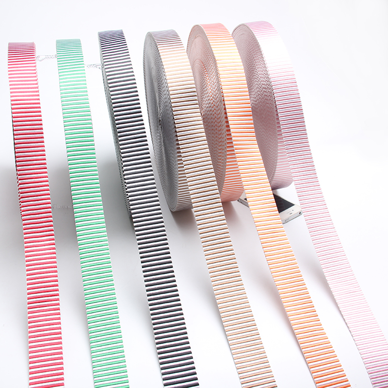 New arrival 38mm nylon webbing striped nylon strap 1.5 thick 1.6mm pink/ orange/ black/red/brown/green /white color