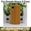 2015 nueva genuino de bambú natural de madera cubierta de la caja de la piel para lg google nexus 5 + protector de pantalla + paquete