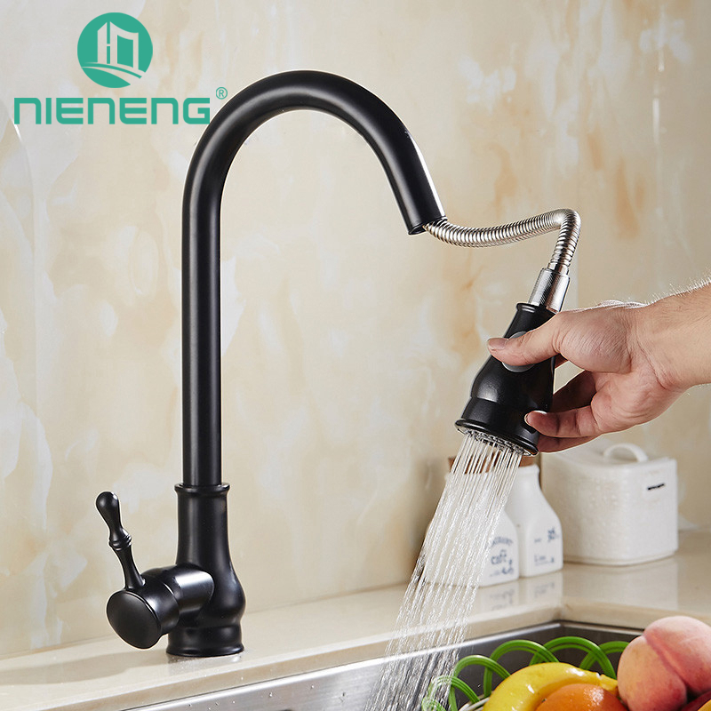 Nieneng Kitchen Faucet Pull Out Mixer Black Sink Tap Sprayer Tools Brass Faucet Basin Water Mixers Kitchen Appliances ICD60374 new pull out black kitchen faucet crystal copper sink kitchen mixer classica mixers faucets bathroom faucet hp 6126r