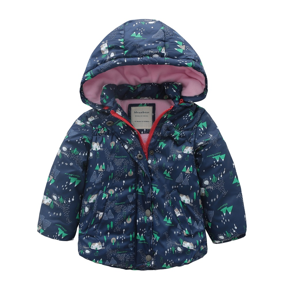все цены на M121 Winter Child Thicken Warm Padded Lining Jacket Print Hooded Boys Parka Coats Kids Tops Spring Autumn Outwear Girls Jacket