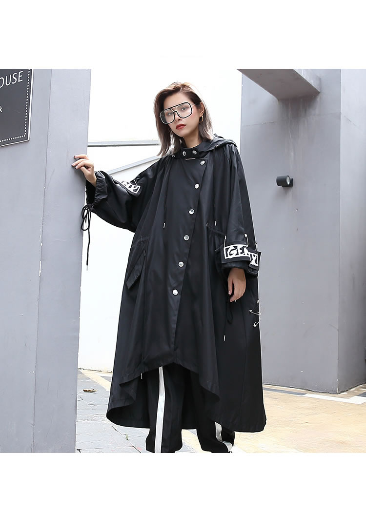 XITAO Spliced Plus Size Black Trench For Women Tide Long Print Streetwear Hoodie Casual Female Wide Waisted Coat 19 ZLL1100 7