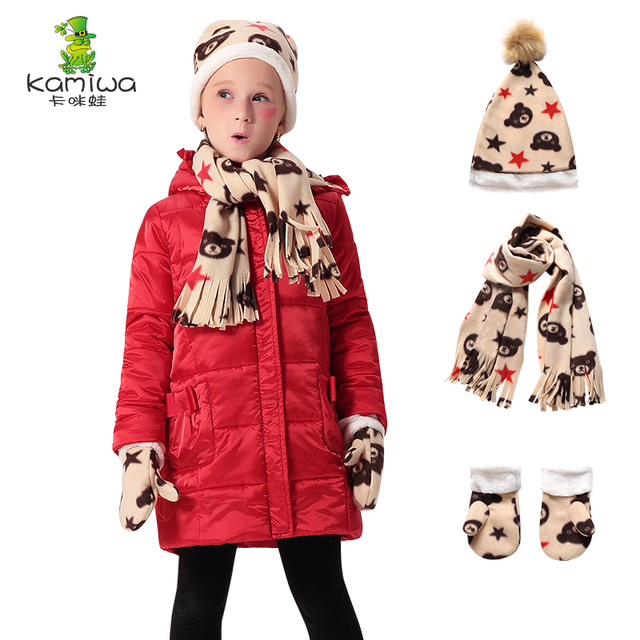 d39a42d97a13 KAMIWA 2018 Gloves Scarf Hat Girls Winter Coats And Jackets Cotton ...