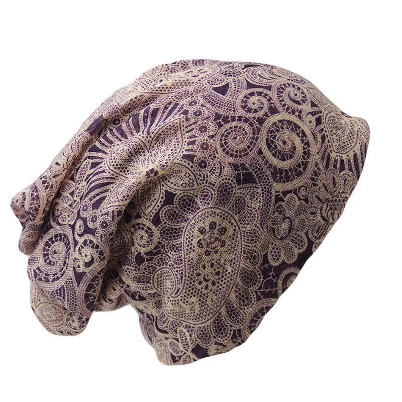 New Casual Adult Women Hat Polyester Floral Autumn Winter Cap Scarf Ladies Fashion font b Beanies