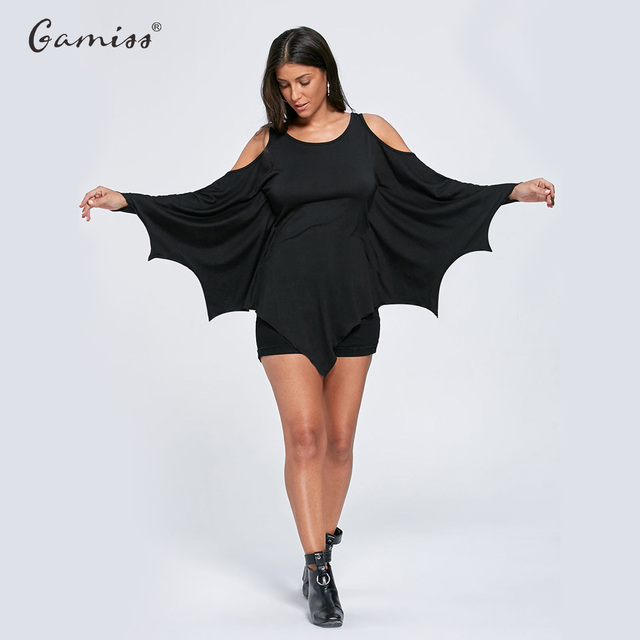 ea9b4d130514d5 Gamiss Spring Autumn Women Casual Tshirt Halloween Cold Shoulder Batwing Top  Long Sleeve Solid Color T Shirt Tops Tees XXL
