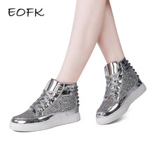EOFK 2018 spring design Women Fashion Flats pink Silver Rivet Sequins Shiny  Shoes Leather Casual Shoes ankle boots for women 493bdc2b7c4b
