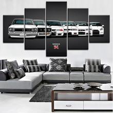 Холст Картина HD печати модульная работа современный 5 шт. Nissa Skyline Gtr автомобиль фотографии дома декоративные настенные искусство уникальный плакат