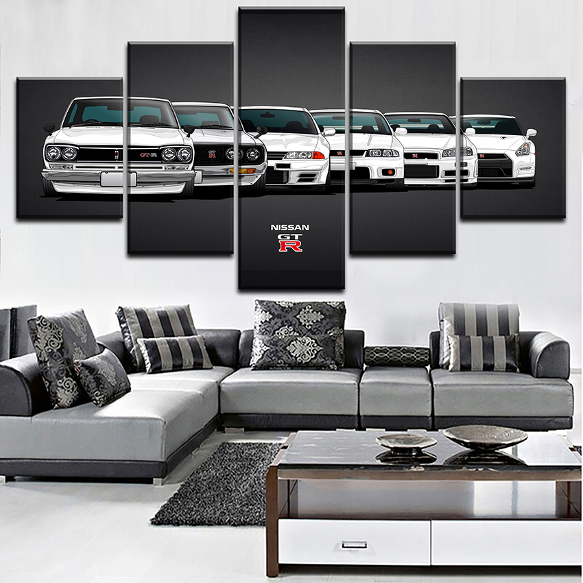 Canvas Painting HD Print Modular Artwork Modern 5 Pieces Nissa Skyline Gtr Car Pictures  ...