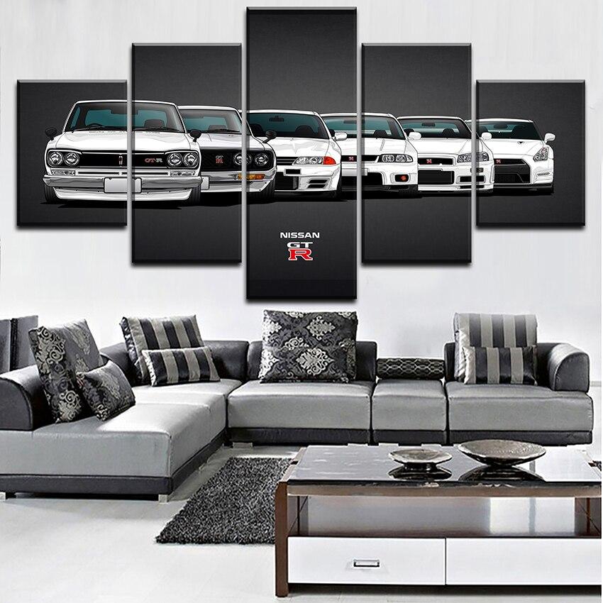 Peinture sur toile HD Imprimer Modulaire Oeuvre Moderne 5 Pièces Nissa Skyline Gtr Voiture Pictures Home Décoratif Mur Art Unique Affiche