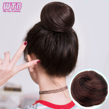 WTB синтетические волосы шиньон прямые черные резинки пончик шнурок термостойкость синтетическая прическа гулька волосы для наращивания