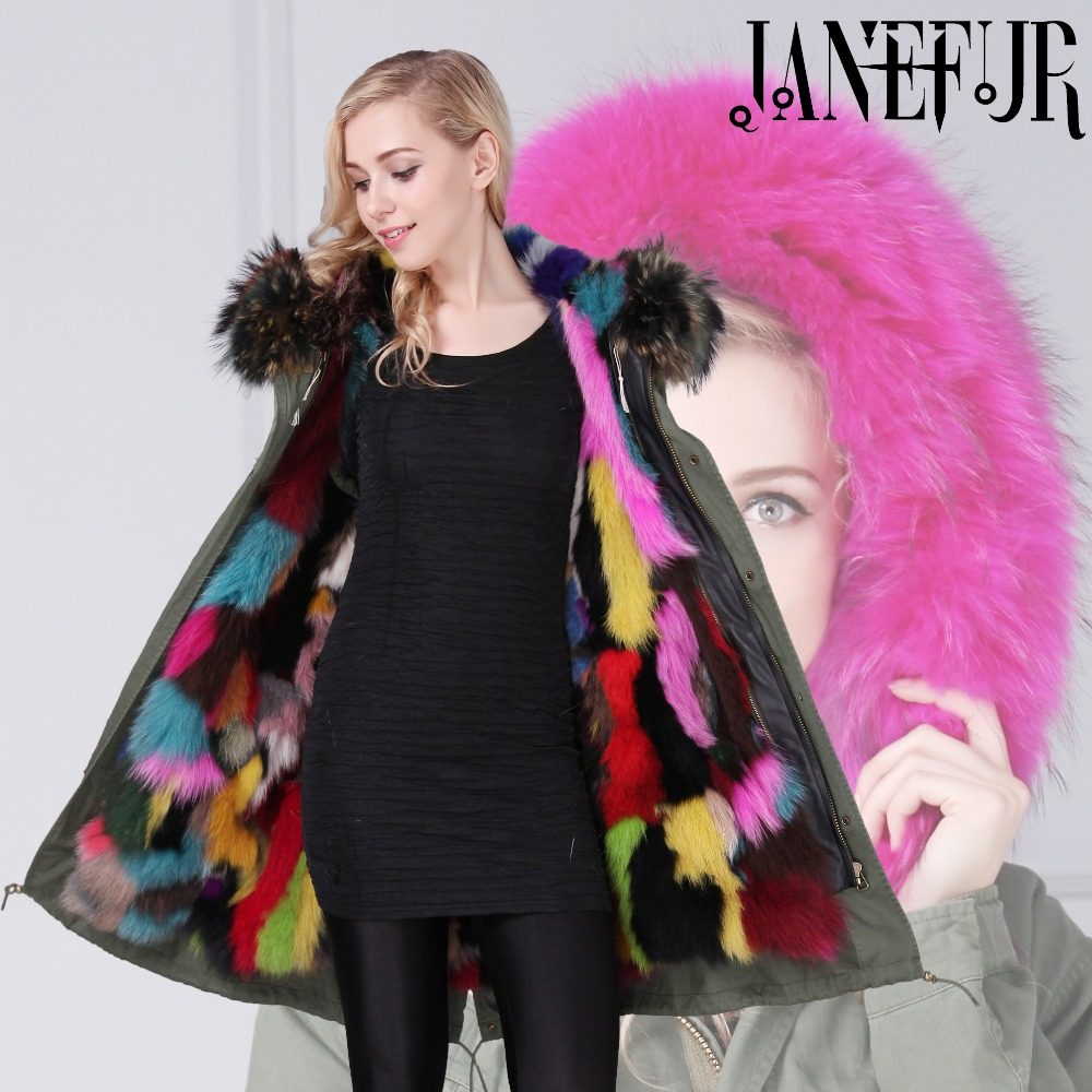 New big raccoon fur hood winter jacket women parka natural real fox fur coat for women thick soft lining abrigos de piel mujer 2017 winter new clothes to overcome the coat of women in the long reed rabbit hair fur fur coat fox raccoon fur collar