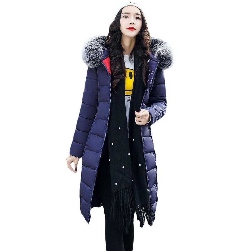 Casaco De Manteaux Capuchon gris Invierno 2018 Long Survêtement Vestes bleu rouge Poche Fourrure À Femmes Mujeres Inversée Coton Manteau Feminino Feitong Noir azw5CqxC
