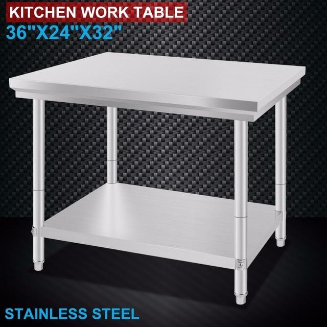 Mesa de preparación de alimentos de trabajo de cocina comercial de ...