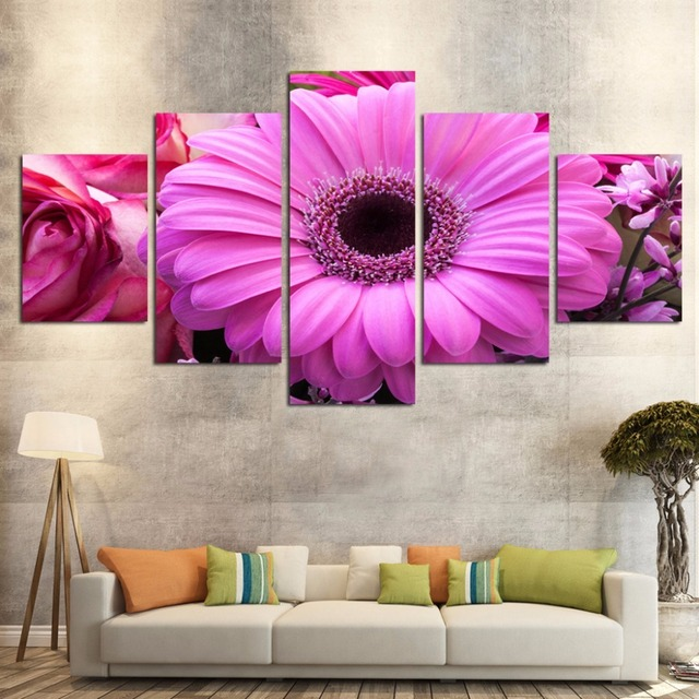 5 pieces wall art hd print canvas prints cuadros decoracion flores ...