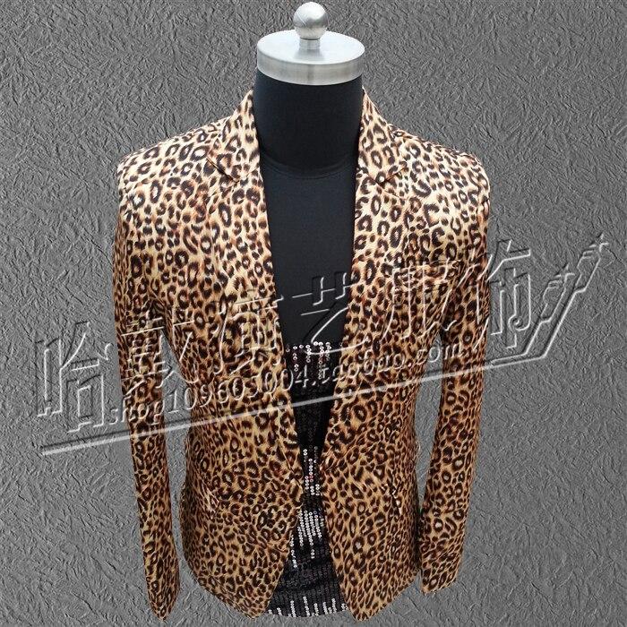 S 5XL 2017 Nightclub leopard print suit sets Han edition of small suit font b men