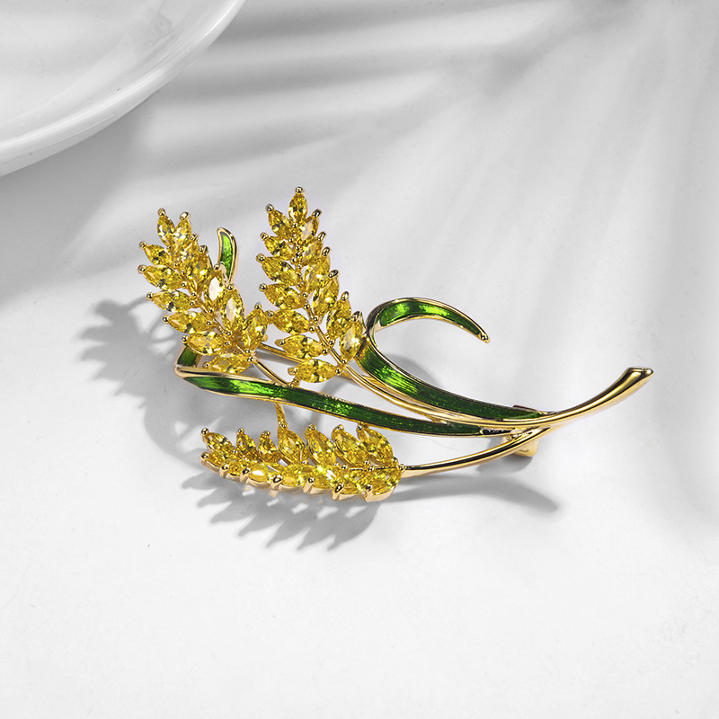 LUKENI Trendy Jewelry Gold Color Copper Wheat Brooches For Women Yellow Crsystal Zircon Brooch Fashion Wedding Gift