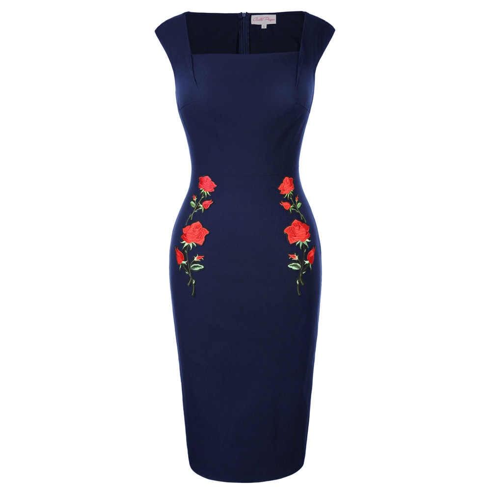 Belle Poque 50s Vintage Rockabilly Dress Knee Length Pencil Dress Bodycon Dress