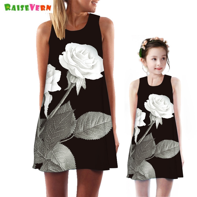 Summer New Sleeveless Mom Daughter Boho Beach Dress Fashion Family Matching Outfits Rose Floral Print Kids Women Casual Dresses