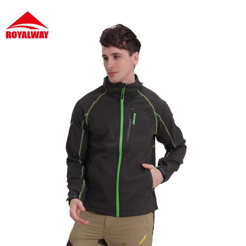 ROYALWAY Men Soft Shell Jacket Outdoor Waterproof Windproof Sport Hiking C Jacket Outerwear#RFCM3276E 10m super strong waterproof self adhesive double sided foam tape for car trim scotch
