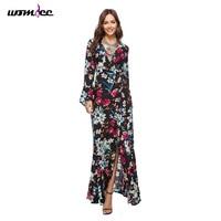 Boho Style Women Flare Sleeve Summer Dresses For Women 2018 Floral Print Long Sleeve Vintage Elegant
