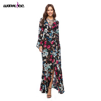 Boho Style Women Flare Sleeve Summer Dresses For Women 2018 Floral Print Long Sleeve Vintage Elegant